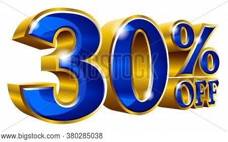 30% Off - Thirty Percent Off Discount Gold And Blue Sign. Vector Illustration. Special Offer 30 % Of