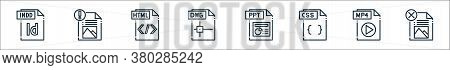 File Type Line Icons. Linear Set. Quality Vector Line Set Such As File, Mp File, Css Ppt Dwg Html