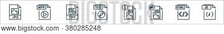 File Type Line Icons. Linear Set. Quality Vector Line Set Such As Js File, Html File, Iso Tiff, Mp