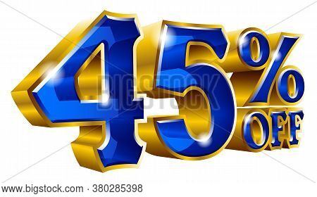 45% Off - Forty Five Percent Off Discount Gold And Blue Sign. Vector Illustration. Special Offer 45