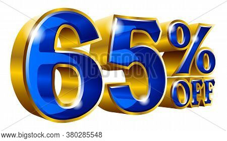 65% Off - Sixty Five Percent Off Discount Gold And Blue Sign. Vector Illustration. Special Offer 65