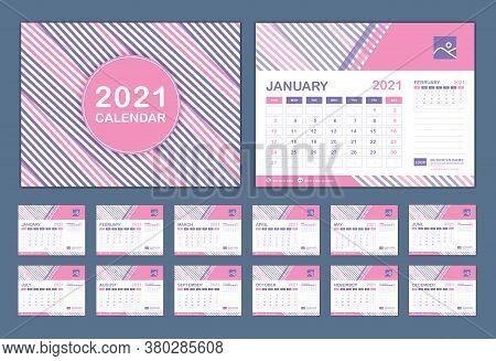 Calendar 2021 Template Vector, Set Desk Calendar 2021 Template, New Year Calendar In A Minimal Trend