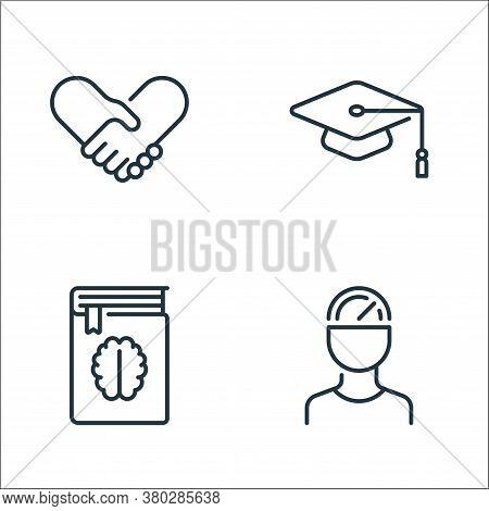 Life Skills Line Icons. Linear Set. Quality Vector Line Set Such As Man, Book, Mortarboard