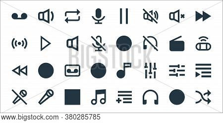 Music Line Icons. Linear Set. Quality Vector Line Set Such As Shuffle, Headphones, Music Note, Mute,