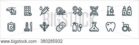 Medical Tools Line Icons. Linear Set. Quality Vector Line Set Such As Wheelchair, Flask, Bandage, Bl