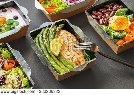 Ready Healthy Food Catering Menu In Lunch Boxes Fish And Vegetable Packages As Daily Meal Diet Plan