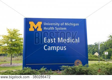 ANN ARBOR, MI - AUGUST 09,2020: An entrance to The University of Michigan east medical campus board,  UofM medical school is one of the top ranked public medical school in the country.