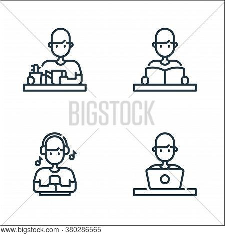 Stay At Home Line Icons. Linear Set. Quality Vector Line Set Such As Working Man, Listening, Reading