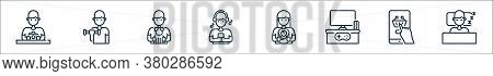 Stay At Home Line Icons. Linear Set. Quality Vector Line Set Such As Human Sleeping, Online Shopping