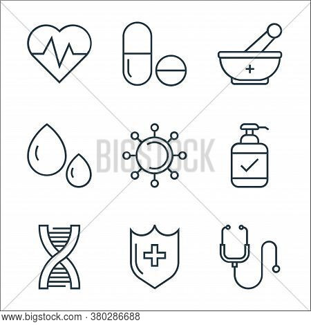 Medical Tools Line Icons. Linear Set. Quality Vector Line Set Such As Stethoscope, Medical Shield, D