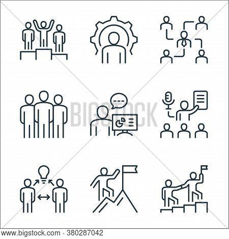 Leadership Line Icons. Linear Set. Quality Vector Line Set Such As Leadership, Climbing, Brainstormi