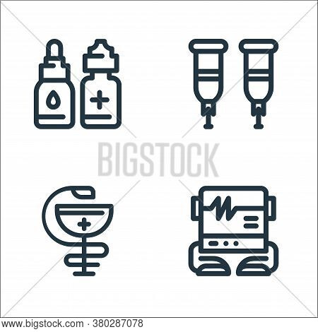 Medical Tools Line Icons. Linear Set. Quality Vector Line Set Such As Electrocardiogram, Pharmacy, C