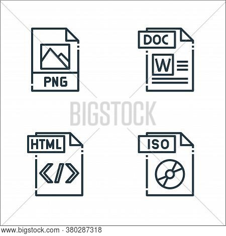 File Type Line Icons. Linear Set. Quality Vector Line Set Such As Iso File, Html File, Doc