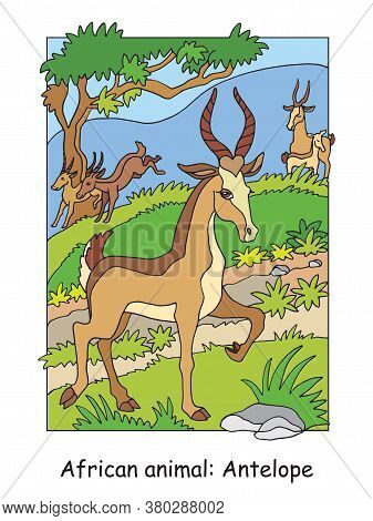 Vector Coloring Pages With Cute Antelope In African Area. Cartoon  Isolated Colorful Illustration. S
