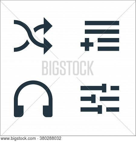 Music Line Icons. Linear Set. Quality Vector Line Set Such As Tune, Headphones, Add To Playlist
