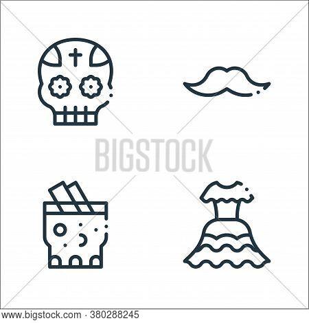 Mexico Line Icons. Linear Set. Quality Vector Line Set Such As Dress, Tepache, Moustache