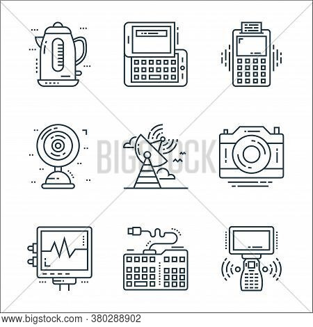 Technology Devices Line Icons. Linear Set. Quality Vector Line Set Such As Remote Control, Keyboard,
