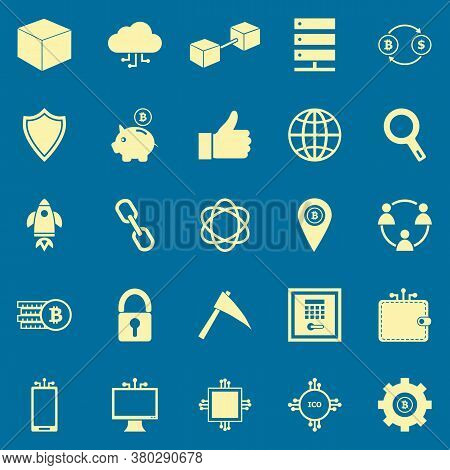 Blockchain Color Icons On Blue Background, Stock Vector