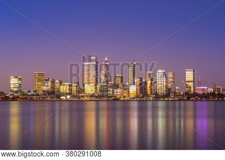 Skyline Of Perth At Night In Western  Australia