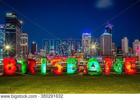December 25, 2018: Skyline Of Brisbane With The G20 Brisbane Sign At South Bank In Brisbane, Austral
