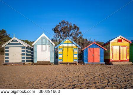 Facade Of Brighton Bathing Boxes In Melbourne, Australia