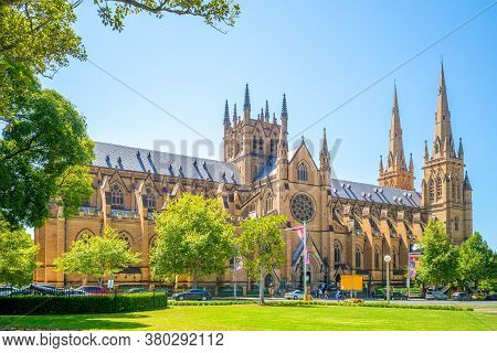 Facade Of St Mary's Cathedral In Sydney, Australia