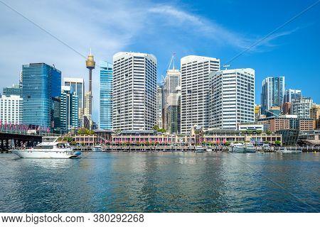 Skyline Of Sydney At Darling Harbour, Australia