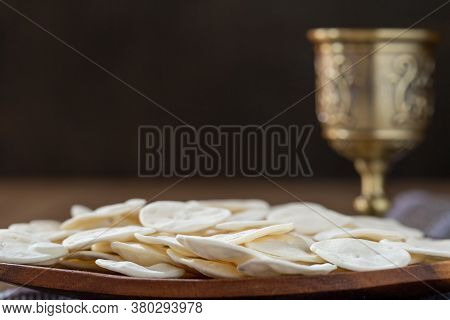 Cup Of Glass With Red Wine, Bread.