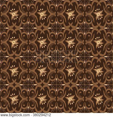 Typical Solo Batik Unique Art Work Motif With Elegant Brown Color Design.