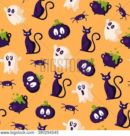 Halloween Cartoon Seamless Pattern - Creepy Pumpkin Lanterns With Scary Faces, Ghost, Black Witches