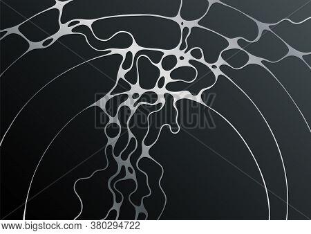 Silver Black Fluid Structure Artistic Graphic Design. Embossing Effect. Liquid Marble Texture Backgr