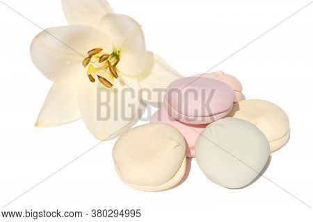 On An Isolated White Background Multicolored Soft Marshmallow, Sweet Confection.