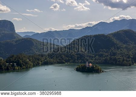 Bled, Slovenia - August 15, 2019: Church Of The Assumption Of The Virgin Mary On The Island Of Lake