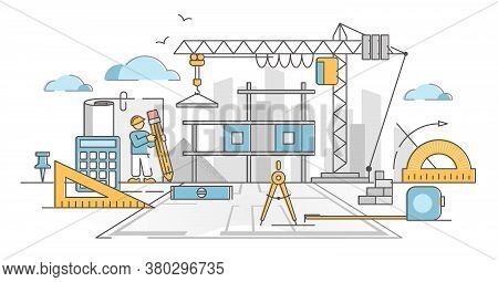 Civil Engineering Industry Tools And Symbolic Equipment In Outline Concept. Architecture Process And