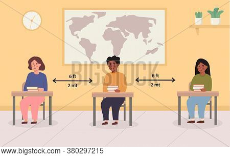 Social Distancing At School Concept Illustration. Mix Race Kids Sitting In The Classroom. Children M
