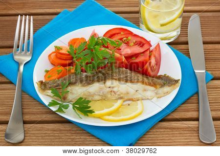 Fried Plaice With Lemon And Salad