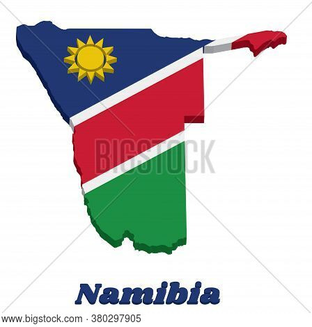 3d Map Outline And Flag Of Namibia,  A White-edged Red Diagonal Band And The Upper Triangle Is Blue,