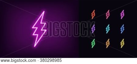 Neon Lightning Icon. Glowing Neon Electric Flash Sign, Electrical Discharge In Vivid Colors. Bright
