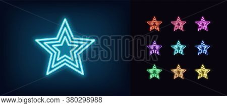 Neon Star Icon. Glowing Neon Superstar Sign, Award In Vivid Colors. Glamour Celebrity, Starry Shape,