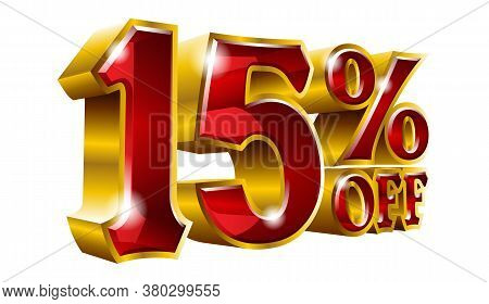 15% Off - Fifteen Percent Off Discount Gold And Red Sign. Vector Illustration. Special Offer 15 % Of
