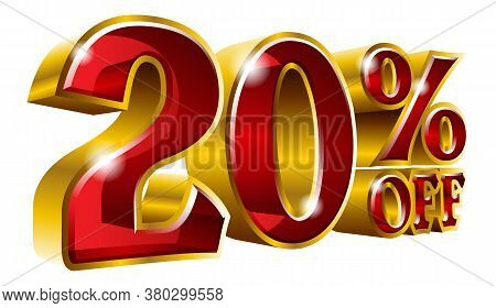 20% Off - Twenty Percent Off Discount Gold And Red Sign. Vector Illustration. Special Offer 20 % Off