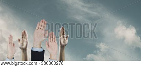 Close Up Hands Of Business Team Corporate Successful , Business People Corporate Success And Achieve