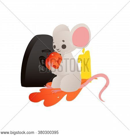 Halloween Card With Mouse At The Gravestone Flat Vector Illustration Isolated.