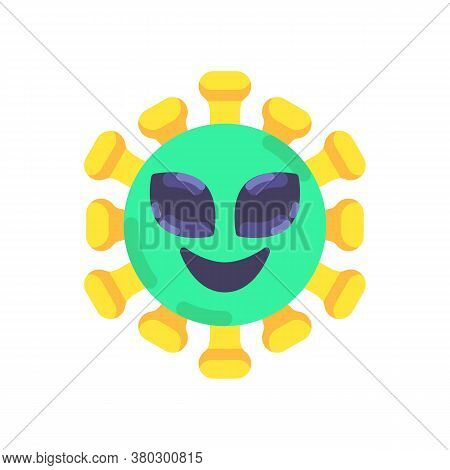 Alien Coronavirus Emoticon Flat Icon, Vector Sign, Alien Virus Face Colorful Pictogram Isolated On W