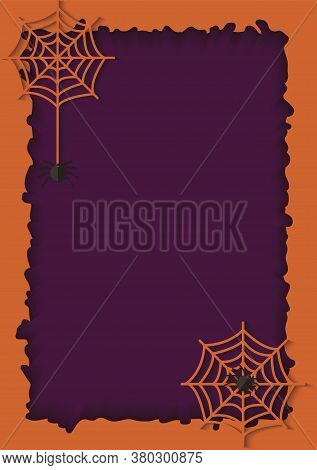 Violet Paper Cut Background And Orange Frame With A Hanging Web Of Dangerous And Poisonous Spider.