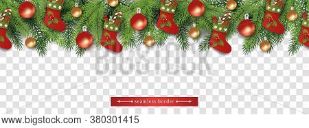 Seamless Christmas Tree Branch Top Border With Gift Stockings And Baubles