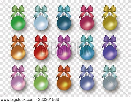 Colorful Bauble And Ribbon Set Isolated On Transparent Background