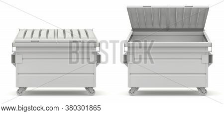 Clay Render Of Open And Closed Green Dumpster - 3d Illustration