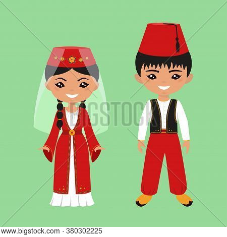 Cute Chibi Characters In National Turkish Costume. Flat Cartoon Style Copy