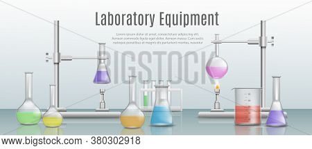 Realistic Chemical And Medical Lab With Beakers And Test Tubes.